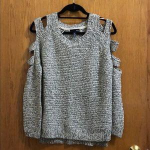 Aqua Marled Sweater Cutout Detail XS